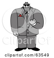 Royalty Free RF Clipart Illustration Of A Tough Mafia Man Threatening With His Fist