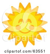 Royalty Free RF Clipart Illustration Of A Cheery Orange And Yellow Sun Face With A Smile by Andy Nortnik