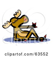 Royalty Free RF Clipart Illustration Of A Beautiful Female Moose Reclined And Drying Her Finger Nails by Andy Nortnik