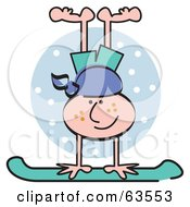 Royalty Free RF Clipart Illustration Of A Freckled Boy Doing A Handstand On His Snowboard by Andy Nortnik
