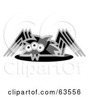Royalty Free RF Clipart Illustration Of A Creepy Black And Gray Spider by Andy Nortnik