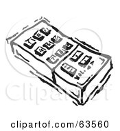 Royalty Free RF Clipart Illustration Of A Black And White Remote Control With Push Buttons