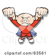 Royalty Free RF Clipart Illustration Of A Freckled Super Hero Flying Forward
