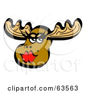 Royalty Free RF Clipart Illustration Of A Beautiful Female Moose Wearing Red Lipstick by Andy Nortnik