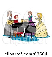 Royalty Free RF Clipart Illustration Of A Group Of Four Victorian Women Singing And Playing A Piano