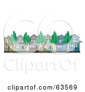 Royalty Free RF Clipart Illustration Of A Row Of Perfect Victorian Houses With Iron Fencing And Trees by Andy Nortnik
