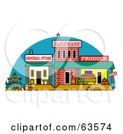 Royalty Free RF Clipart Illustration Of An Old Town With General Hardware And Produce Store Fronts by Andy Nortnik