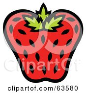 Royalty Free RF Clipart Illustration Of A Red Strawberry Seeded With Black Seeds by Andy Nortnik