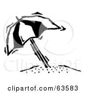 Black And White Tilted Beach Umbrella