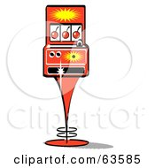 Royalty Free RF Clipart Illustration Of A Retro Slot Machine With Three Cherries On The Screen by Andy Nortnik