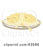 Royalty Free RF Clipart Illustration Of A Plate Of Cooked Spaghetti Noodles