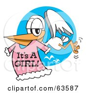 Royalty Free RF Clipart Illustration Of A White Stork Flying With A Pink Its A Girl Dress In Its Beak