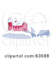 Royalty Free RF Clipart Illustration Of A Rancher And His Cow Silhouetted In The Winter Near A Snow Covered Barn by Andy Nortnik