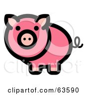 Royalty Free RF Clipart Illustration Of A Curly Tailed Pink Pig Looking Outwards
