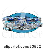 Royalty Free RF Clipart Illustration Of A Big Rig Transporting Racks Of Blue Cars by Andy Nortnik