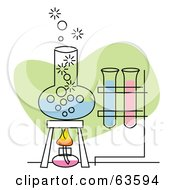Royalty Free RF Clipart Illustration Of A Boiling Concoction In A Beaker Near Scientific Test Tubes