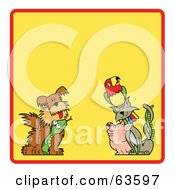 Royalty Free RF Clipart Illustration Of A Yellow Background Bordered With A Red Line Dog Snake Pig Cat And Parrot