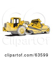 Royalty Free RF Clipart Illustration Of A Yellow Wheel Tractor Scraper Machine by Andy Nortnik