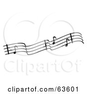 Royalty Free RF Clipart Illustration Of A Black And White Sheet Music Line With Notes by Andy Nortnik