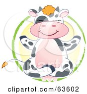 Royalty-Free (RF) Clipart Illustration of a Happy Dairy Cow Meditating In A Yellow And Green Circle by Alexia Lougiaki #COLLC63602-0043