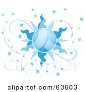 Royalty Free RF Clipart Illustration Of An Ornate Blue Sun With Stars by Alexia Lougiaki #COLLC63603-0043