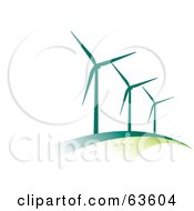 Line Of Green Wind Turbines On A Hill