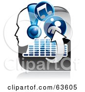 Royalty Free RF Clipart Illustration Of A Blue And Gray Music Button Of A Person Wearing Headphones Arrows Equalizer And Music Notes by Alexia Lougiaki
