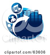 Royalty Free RF Clipart Illustration Of A Blue Music Button With Notes A Person Arrow And Equalizer by Alexia Lougiaki