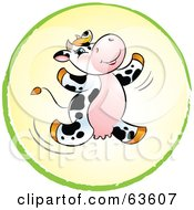 Royalty Free RF Clipart Illustration Of A Happy Dairy Cow Leaping In A Yellow And Green Circle