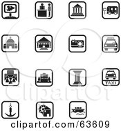 Royalty Free RF Clipart Illustration Of A Digital Collage Of 15 Black And White Square Icons Transportation And Architecture by Alexia Lougiaki #COLLC63609-0043