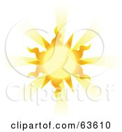 Glowing Yellow Sun With Wavy Rays