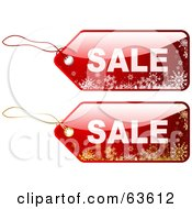 Royalty Free RF Clipart Illustration Of A Digital Collage Of Two Red Sale Tags With White And Gold Snowflakes by KJ Pargeter