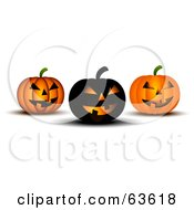 Royalty Free RF Clipart Illustration Of Three Black And Orange Spooky Halloween Pumpkins