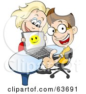 Royalty Free RF Clipart Illustration Of A Woman Looking Over Her Husbands Laptop As He Gives The Thumbs Up