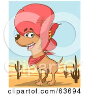 Royalty Free RF Clipart Illustration Of A Happy Chihuahua Dog Wearing A Sombrero In The Desert by Holger Bogen