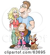 Royalty Free RF Clipart Illustration Of A Happy Caucasian Family Of Three Mom Dad Daughter And Their Dog by Holger Bogen