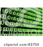 Royalty Free RF Clipart Illustration Of A Green 3d Flowing Binary Code Background