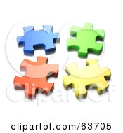 Four Seperated 3d Blue Green Orange And Yellow Jigsaw Puzzle Pieces