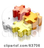 Different Sized 3d White Red Orange And Yellow Puzzle Pieces