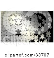 Royalty Free RF Clipart Illustration Of A Silver Puzzle Building From Left To Right With Some Missing Black Spaces