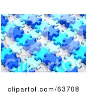 Royalty Free RF Clipart Illustration Of A Puzzle Made Of Variously Sized And Colored Blue Pieces by Tonis Pan