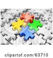 Royalty Free RF Clipart Illustration Of Four 3d Colored Puzzle Pieces Locking Into Place In A White Jigsaw Puzzle