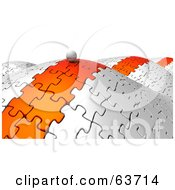Royalty Free RF Clipart Illustration Of A 3d Orb Rolling Along An Orange Path On Jigsaw Puzzle Hills by Tonis Pan