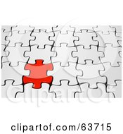 Royalty Free RF Clipart Illustration Of A 3d Background Of A Red Puzzle Piece Interlocked In A White Puzzle