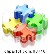 Royalty Free RF Clipart Illustration Of Different Sized 3d Blue Green Red And Yellow Puzzle Pieces
