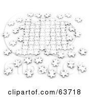 Royalty Free RF Clipart Illustration Of Scattered 3d White Puzzle Pieces Interlocking