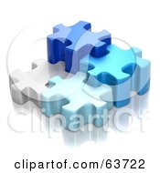 Different Sized 3d Blue And White Puzzle Pieces