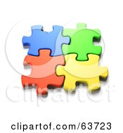 Interlocked Colorful Jigsaw Puzzle Pieces
