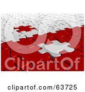 Royalty Free RF Clipart Illustration Of A 3d White And Red Jigsaw Puzzle With Pieces On The Opposite Sides