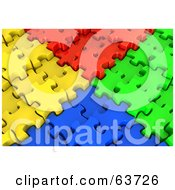 Corners Of Red Yellow Blue And Green 3d Jigsaw Puzzles Meeting